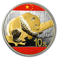 Gold Gilded Flag Colorized Silver Panda 2016 30g Coin