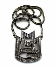 "ICED OUT HEMITITE PT BLACK MAYBACH MUSIC GROUP MMG PENDANT & 36"" FRANCO CHAIN"