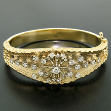 "Vintage 14k Yellow Gold 2.10ctw Round Diamond 6.5"" Textured Open Bangle Bracelet"