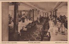 Postcard Ship Cunard RMS Carinthia Dining Saloon Second Class