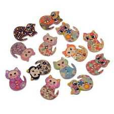 100 Nature 2 Holes Wood Sewing Buttons Scrapbooking Mixed Cat Pattern 30x21mm