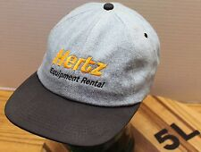 HERTZ EQUIPMENT RENTAL HAT LIGHT BLUE DENIM/BLACK ADJUSTABLE VERY GOOD CONDITION