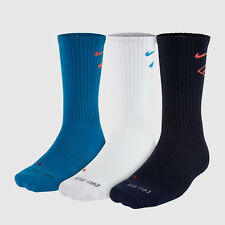 $39 NIKE Men's 3 PAIR PACK DRI-FIT FLY RISE CREW SOCKS Blue White SHOE 8-12 L