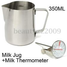 350ml Stainless Steel Coffee Milk Frothing Latte Art Jug w/ Scale+ Thermometer