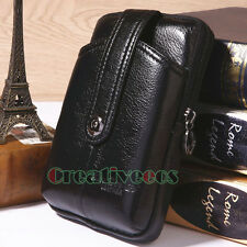 Men Oil Wax Leather Cell Phone Case Cover  Pouch Belt Purse Fanny Pack Waist Bag