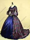 Renaissance Victorian Blue Floral Dress Gown Theatrical Reenactment Costumes 159