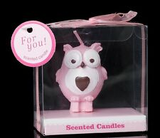 Owl Candle Pink in Gift Box Baby Shower Christening Birthday Party Favour