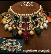 Designer Bollywood Gold Plated Jewelry Indian Kundan Bridal Necklace Set 001A14