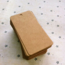 50x Rectangle Type 4cm*8cm Kraft Brown Paper Tags Vintage Clothing Price Tags