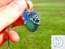 Green Aventurine Gemstone Pendant Elephant Head Necklace Healing Chakra