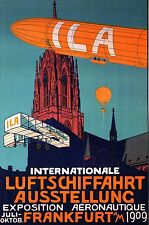 AVIATION POSTER ART INTERNATIONAL AERONAUTIC SHOW FRANKFURT GERMANY 1909