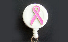 BREAST CANCER AWARENESS Retractable ID Badge Reel Holder/Key Chain PINK RIBBON