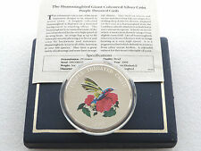 1995 Turks Caicos Purple Throated Carib 25 Crowns Silver Proof 5oz Coin Box Coa