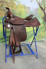 """42-36  Pre-owned 15"""" Jesse Toney leather ranch western saddle - nice qualitty"""