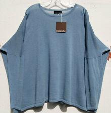NWT Eskandar LIGHT BLUESTORM Linen Cotton Skinny Sleeve Knit Top O/S $895