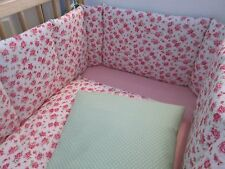 Cushi cots cot bumper and duvet girls pink rose and fresh green and white do