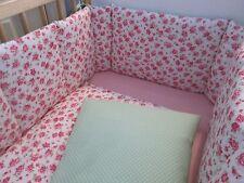 Cushi Catres Cuna parachoques y edredón Niñas rosa Rosa y verde y blanca fresca hacer