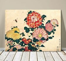 "Beautiful Japanese Floral Art ~ CANVAS PRINT 8x12"" ~Hokusai Chrysanthemums"