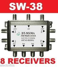 3X8 SATELLITE MULTI-SWITCH FOR DISH NETWORK SW38 8 OUTPUT DIRECTV BELL LNB TIVO