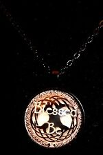 Wiccan Pagan Pendant Necklace Blessed Be Tree of Life 30mm Glass Cabochon