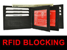 RFID Safe Black Leather Men Bifold Wallet ID Credit Card Zip 2 Center Flap