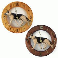 German Shepherd Wood Wall Clock Plaque Tan/Blk
