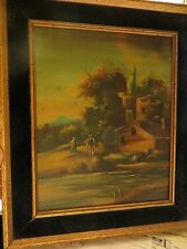 Vintage (Antique?) Oil Painting on Wood with Velvet Frame
