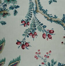 ZOFFANY Indian Red Floral Berries Linen Remnant New