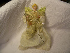 "15"" BEAUTIFUL TREE TOPPER MANTEL ANGEL- White and Gold,Plastic Cone under skirt"