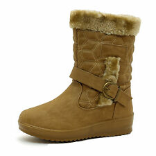 WOMENS LADIES GIRLS WELLIES FLAT BUCKLE WARM WINTER MUCKER QUILTED BOOTS SIZES