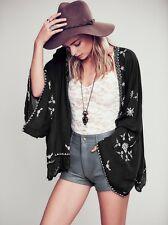 FREE PEOPLE Black Embroidered lace trim kimono jacket top black Medium