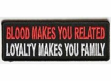 BLOOD MAKES YOU RELATED Embroidered Jacket Vest Patch Funny Saying Biker Emblem