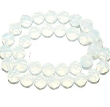 GR118c Opalite / Sea Opal Quartz 10mm Faceted Round Gemstone Glass Beads 12""