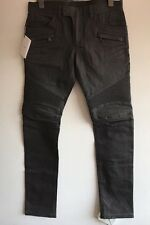 BALMAIN SLIM-FIT CLEAN WAXED PENCIL GREY BIKER JEANS SIZE 32 RRP £720