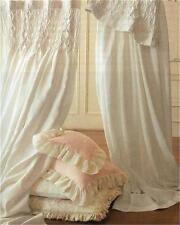 Shabby French Country Curtains Drapes 2 Ivory Vintage Smocked Panels Chic New