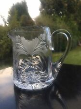 "Royal Brierley Honeysuckle Cut Whisky Water Jug 4"" Tall Signed 1st Quality"