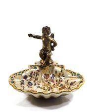 Porzellan Muscheln Schale Dose Engel Bronze