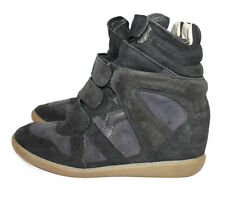 ISABEL MARANT ETOILE Beckett leather suede wedge sneaker boot black 40 7
