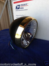 "7"" Super Cool Old School Black & Brass Headlight for your motorcycle"