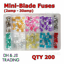 Assorted Box of Mini Blade Fuses Qty (200) 2 3 4 5 7.5 10 15 20 25 30amp Fuse