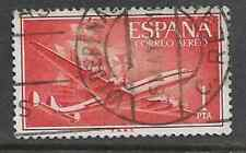 SPAIN POSTAL ISSUE USED AIRMAIL STAMP 1955 SUPERCONSTELLATION & SANTA MARIA SHIP