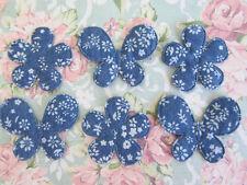 50 Denim Blue Floral Print Flower & Butterfly Set Applique/bow/trim/sewing L72