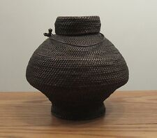 "Antique Japanese lidded basket with metal handle 9""x10"" dia round lid foot"