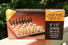 """SMALL WOOD"" CHESS SET .Go Classic game. 11 1/2"" x 11 3/4"" chessboard"