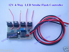 12V 4-Way LED Strobe Flash Controller Kits Lamp Light Dashboard Flasher Module