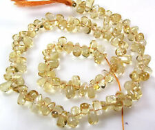 "ALL NATURAL GOLDEN CITRINE SMOOTH TEARDROP BEADS 14""  Z37"
