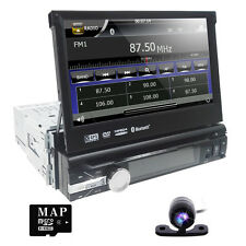 "1 Din 7"" Car Stereo Radio DVD Player Head Unit Bluetooth 8 Touch Screen +CMD CAM"