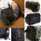 Damen Stilvolle Shopper Handtaschen-Schulter-Beutel-Schädel-Niet Quasten taschen