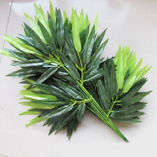 2Pcs Green Artificial Bamboo Leaf Plants Plastic Tree Branches Leaves Decoration