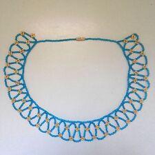 Collanina girocollo celeste e oro di perline collana donna azzurra hippy hippie
